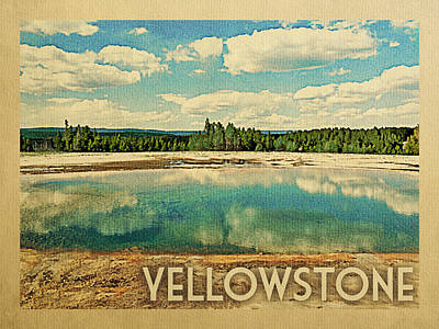 Yellowstone Digital Art - Yellowstone Travel Poster	 by Flo Karp