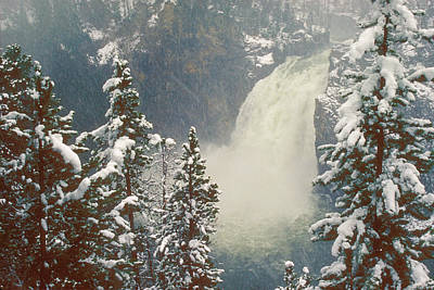 Photograph - Yellowstone Upper Falls Snowstorm by John Burk