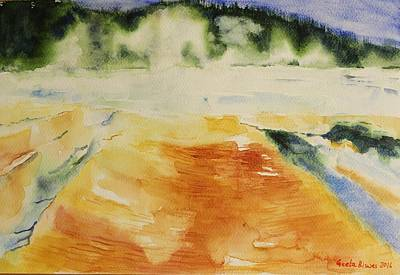 Painting - Yellowstone, Watercolor Gift, Souvenir  by Geeta Biswas