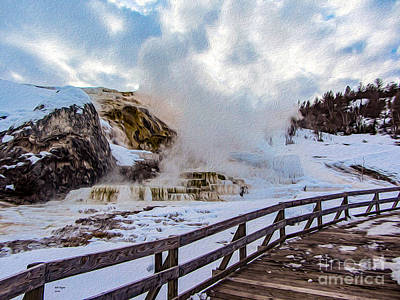 Mammoth Spring Painting - Yellowstone's Mammoth Springs II by Bill and Deb Hayes
