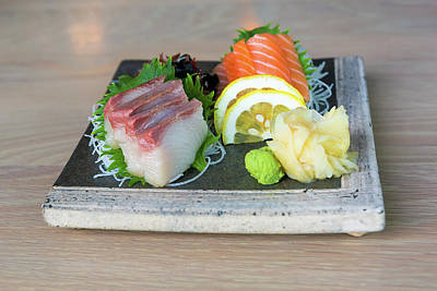 Photograph - Yellowtail And Salmon Sashimi Closeup by Jit Lim