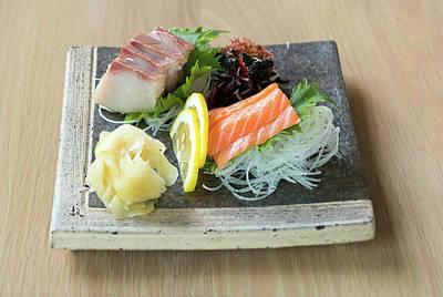 Photograph - Yellowtail And Salmon Sashimi by Jit Lim