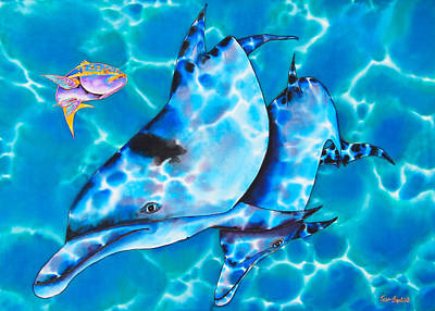 Tropical Fish Painting - Yellowtail Snapper And  Dolphins by Daniel Jean-Baptiste