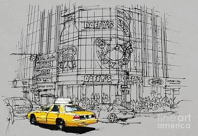 Statue Of Liberty Drawing - Yelow Cab On New York Streets by Pablo Franchi