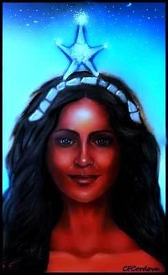Spiritual Portrait Of Woman Digital Art - Yemaya -mother, Goddess, Warrior by Carmen Cordova