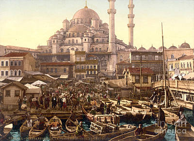 Painting - Yeni Cami And Eminonu Bazaar by Celestial Images