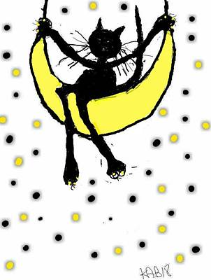 Digital Art - Yeow Cat Swinging On Moon by Kathy Barney