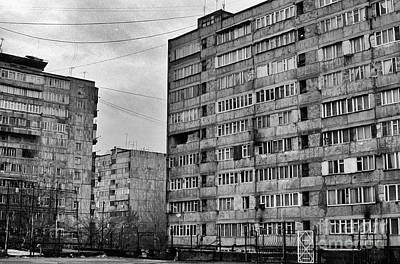 Brutalist Digital Art - Yerevan Armenia Grey Drab Apartment Blocks. by Richard Wareham