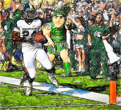 Michigan State Painting - Yes A Sparty Td by John Farr