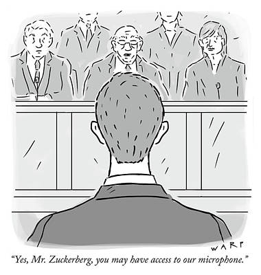 Social Media Drawing - Yes Mr Zuckerberg by Kim Warp