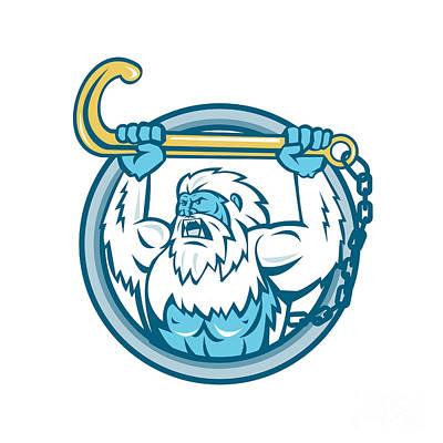 Abominable Snowman Digital Art - Yeti Lifting J Hook Circle Retro by Aloysius Patrimonio