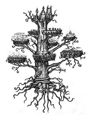 Drawing - Yggdrasil by Michael Lee