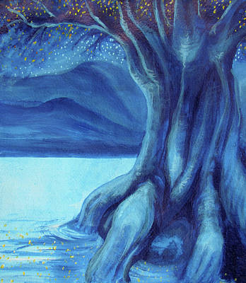 Tree Roots Painting - Yggdrasil The World Tree by Ida Kendall