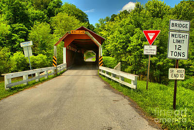 Photograph - Yield At The Herline Covered Bridge by Adam Jewell