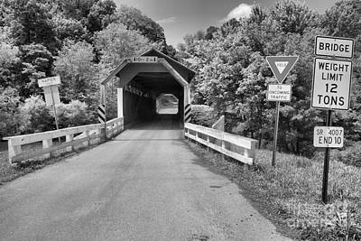 Photograph - Yield At The Herline Covered Bridge Black And White by Adam Jewell