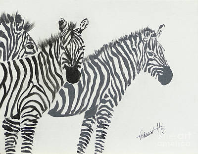Zebra Painting - Yin And Yang Triptych Black On White by Mohamed Hirji
