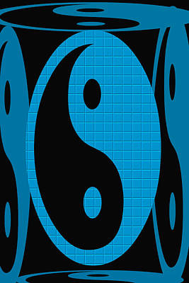 Digital Art - Yin Yang Blue Mosaic by Aimee L Maher Photography and Art Visit ALMGallerydotcom