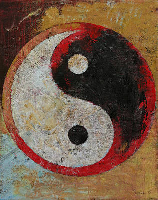 Contemporary Symbolism Painting - Yin Yang Red Dragon by Michael Creese