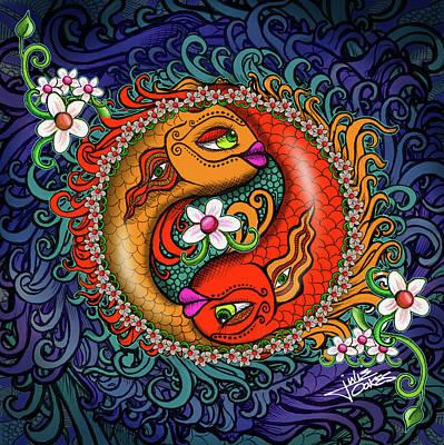 Drawing - Yin Yang Koi by Julie Oakes