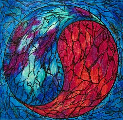 Colored Pencil Abstract Drawing - Yin Yang by Megan Walsh