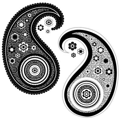 Drawing - Yin Yang Paisley Design by Serena King