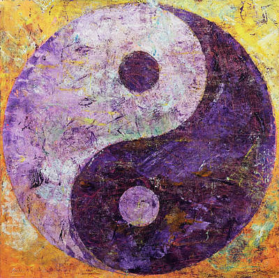 Contemporary Symbolism Painting - Purple Yin Yang by Michael Creese