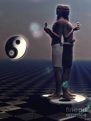 Mixed Media - Ying And Yang by ML Walker