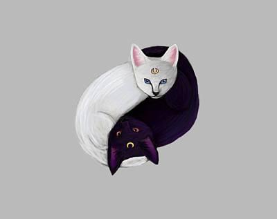 Ying Yang Cats Art Print