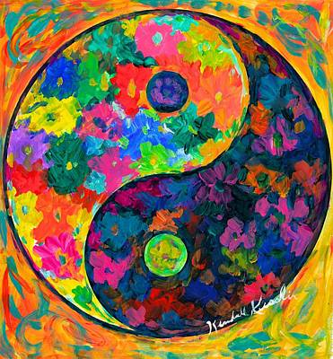 Green Painting - Yin Yang Flower by Kendall Kessler