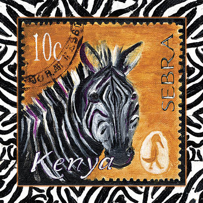 Zebra Art Painting - Yipes Z-stripes by Debbie McCulley