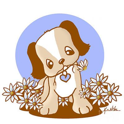 Puppies Digital Art - Yittle Puppy by Kim Niles