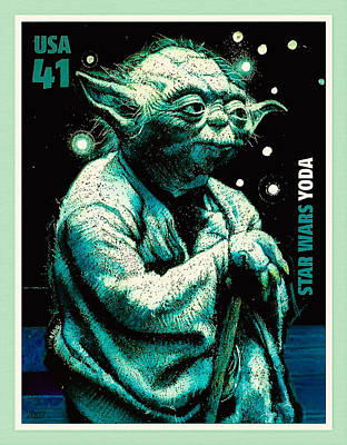 United States Postage Painting - Yoda by Lanjee Chee