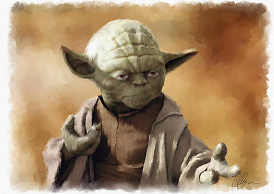 Painting - Yoda, Star Wars, May The Force Be With You. by Michael Greenaway