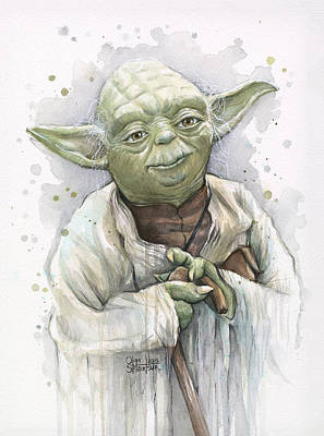 Watercolor Portraits Painting - Yoda by Olga Shvartsur