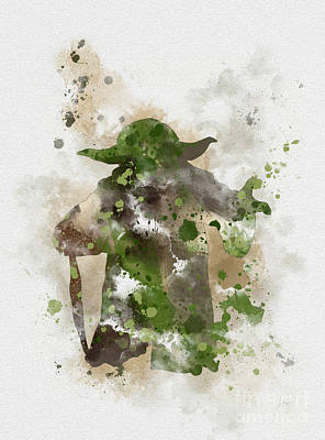 Splatter Mixed Media - Yoda by Rebecca Jenkins