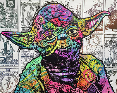 Tarot Wall Art - Painting - Yoda Tarot by Dean Russo Art