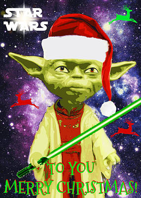 Yoda Wishes To You Merry Christmas Art Print
