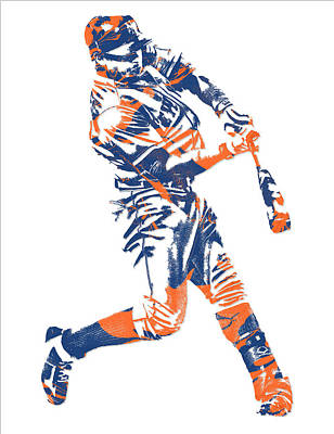 New York Mets Mixed Media - Yoenis Cespedes New York Mets Pixel Art 1 by Joe Hamilton