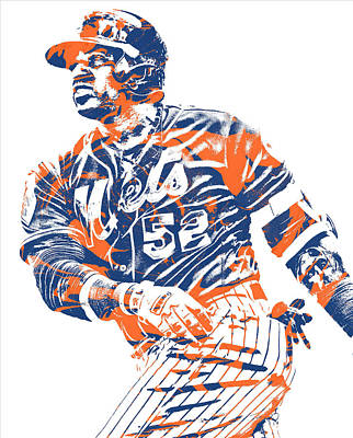 New York Mets Mixed Media - Yoenis Cespedes New York Mets Pixel Art 10 by Joe Hamilton