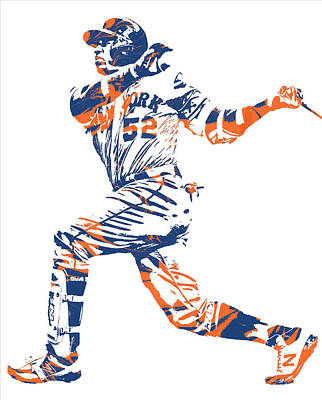 New York Mets Mixed Media - Yoenis Cespedes New York Mets Pixel Art 11 by Joe Hamilton