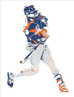 New York Mets Mixed Media - Yoenis Cespedes New York Mets Pixel Art 2 by Joe Hamilton