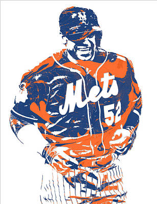 New York Mets Mixed Media - Yoenis Cespedes New York Mets Pixel Art 3 by Joe Hamilton