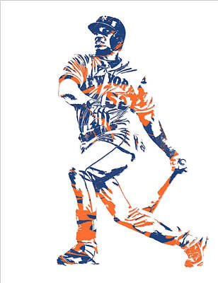 New York Mets Mixed Media - Yoenis Cespedes New York Mets Pixel Art 4 by Joe Hamilton