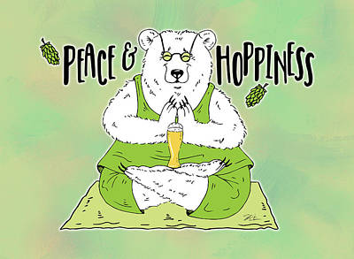 Mixed Media - Yoga Beer Bear by Shari Warren