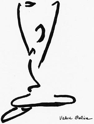 Calligraphic Drawing - Yoga Drawing1 by Valerie Felice