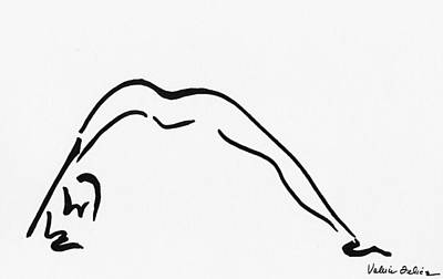 Calligraphic Drawing - Yoga Drawing4 by Valerie Felice