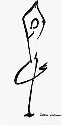 Calligraphic Drawing - Yoga Drawing6 by Valerie Felice