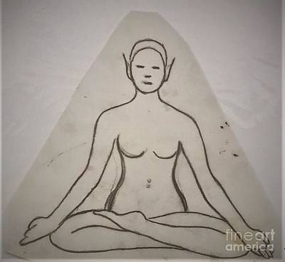 Drawing - Yoga Fairy Sketch by Suzn Art Memorial