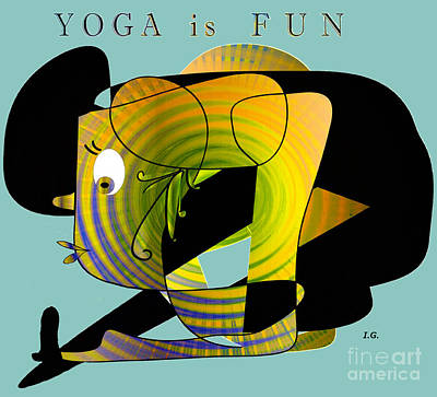 Digital Art - Yoga Is Fun by Iris Gelbart