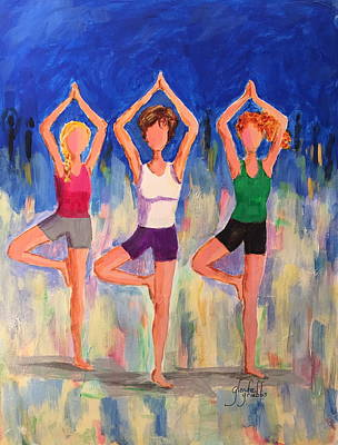 Yoga Pose Painting - Yoga Ladies In Tree Pose by Glenda Grubbs